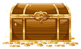 Wooden chest and golden coins Stock Photo