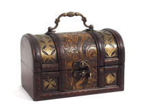 Wooden chest with golden ornaments. On white background Stock Photography