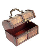 Wooden chest with hook lock open Stock Photos