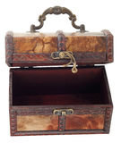 Wooden chest with hook lock open Stock Photo