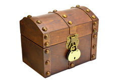 Wooden chest with lock. Isolated on white background Stock Photos