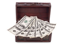Wooden chest with money Royalty Free Stock Images