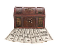 Wooden chest with money Royalty Free Stock Image