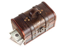 Wooden chest with money Royalty Free Stock Photos