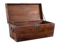 Wooden chest open Stock Image