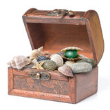 Wooden chest with pearl isolated Stock Photography