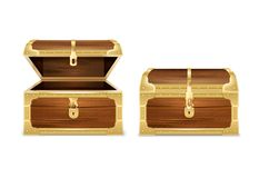 Wooden Chest Realistic Set. With images of opened and closed empty treasure coffers on blank background vector illustration royalty free illustration