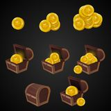 Wooden Chest set for game interface. illustration. treasure of gold coins on dark background: closed, empty, chestes with golden vector illustration