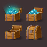 Wooden Chest set for game interface. Vector illustration.Treasure chest of blue crystals,gemstones,diamonds on dark background closed, empty, chest with gems Stock Images