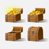 Wooden Chest set for game interface. Vector illustration. treasure chest of gold coins on background closed, empty, chest with golden coins Royalty Free Stock Image