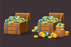 Wooden Chest set for game interface. stock illustration