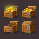 Wooden Chest set for game interface. Vector illustration. treasure chest of gold coins on dark background closed, empty, chest with golden coins Royalty Free Stock Photos
