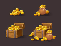 Wooden Chest set for game interface. Vector illustration. treasure of gold coins on dark background: closed, empty, chestes with golden coin.Icons cartoon Stock Images