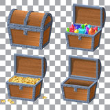 Wooden Chest set. For game interface.Vector illustration. treasure of gold coins on white background closed, chest with jewels Stock Photo