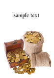 Wooden chest and two bags filled with coins Royalty Free Stock Image