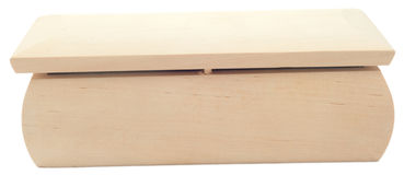 Wooden chest on white separately Royalty Free Stock Images