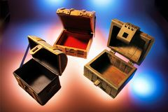 Wooden Chests. With Warm and Blue Glows Royalty Free Stock Photography