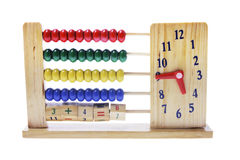 Wooden Children Abacus with Clock Stock Image