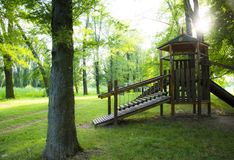 Wooden children playground Royalty Free Stock Images
