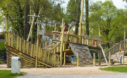 Wooden children playground stock photography