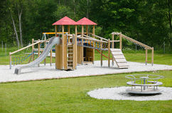 Wooden children's playground Royalty Free Stock Image