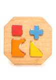 Wooden childs shape sorter toy. Cutout Stock Photo