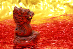 Wooden Chinese dragon figurine Stock Photography