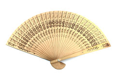 Wooden chinese hand fan. Isolated on white background Royalty Free Stock Photo