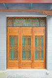 Wooden Chinese style window, door and wall, Stock Photography