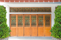 Wooden Chinese style window, door and wall Royalty Free Stock Images