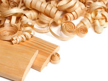 Wooden chips and planks Stock Photo