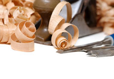 Wooden chips and tools Royalty Free Stock Images