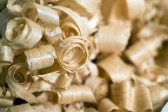 Wooden chips, selected focus. Wooden chips, waste of industrial production, background selected focus Stock Photos
