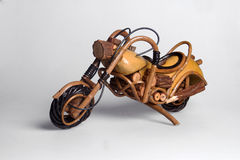 Wooden chopper. Small wooden chopper motorbike on isolated background Royalty Free Stock Images