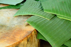 Wooden chopping block and banana leaf. The wooden chopping block and banana leaf Stock Photography