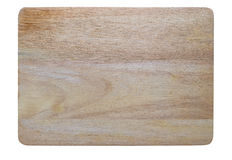 Wooden chopping block on white Royalty Free Stock Photos