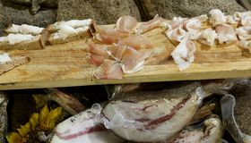Wooden chopping board with speck slices for tasting stock image