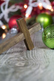 Wooden Christian Cross Christmas Theme Royalty Free Stock Images
