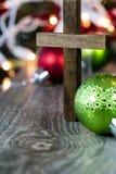 Wooden Christian Cross Christmas Theme Royalty Free Stock Photos