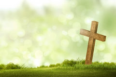Wooden christian cross. Religious concept image Royalty Free Stock Photography