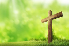 Wooden christian cross. Religious concept image royalty free stock photos