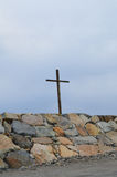 Wooden Christian Cross at Scituate Light. Wooden Cross at Cedar Point in Scituate Massachusetts stock images