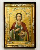 Wooden christian icon on white background. Wooden christian orthodox icon on white background decorative divine stock images