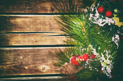 Wooden Christmas Background Stock Photo