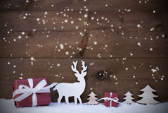 Wooden Christmas Background Snowflakes Gifts Trees Royalty Free Stock Photos
