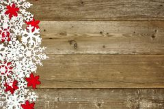 Wooden Christmas background with snowflakes Stock Image