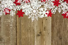 Wooden Christmas background with snowflakes Stock Images