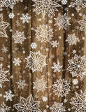 Wooden christmas background with snowflakes and stars, vector Royalty Free Stock Image