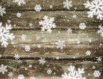 Wooden christmas background with snowflakes, vector Royalty Free Stock Photo
