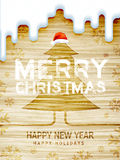 Wooden Christmas background with tree Stock Images